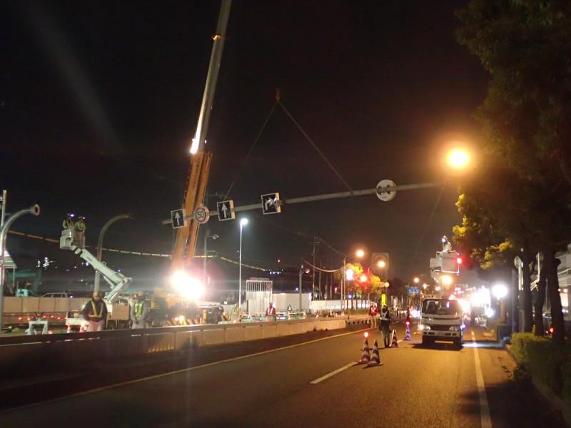 2015/11/21 ニトリモール枚方新築に伴うアーチ柱移設