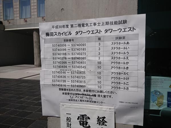 2018/10/30 平成30年度第二種電気工事士上期技能試験 試験結果